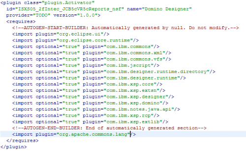 Plugin.xml XML Editor After